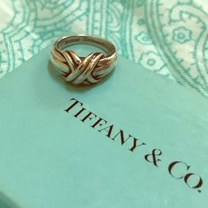 Tiffany & Co 925 Silver Double Strand X Ring